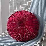 Lucoss Zierkissen Home 35cm rundes Wurfkissen Handgefertigtes Kürbissamt Samt Dekoratives Rückenkissen Kissen für Couch Wohnzimmer Stuhl Couch Schlafsofa (Rot)