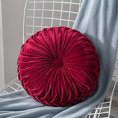 ARTIFUN Velvet Pleated Round Pumpkin Throw Pillow Couch Cushion Floor Pillow for Sofa Chair Bed Car Home Decorative
