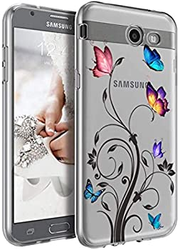 Yodueiv Phone Case for Galaxy J7 2017/J7 Prime/J7 Sky Pro/J7 Halo/J7 V/J7 Perx/Galaxy Halo Case Soft Clear TPU Shockproof Protective Transparent Case Cover for Samsung Galaxy J7 2017  Butterfly