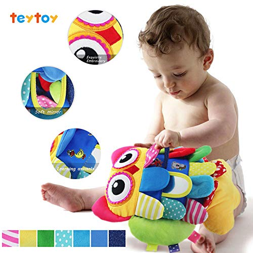 teytoy My First Baby Toys-Who Do You See, Baby Crinkle Activity and Teething Toy with Multi-Sensory Rattle and Textures, Owl