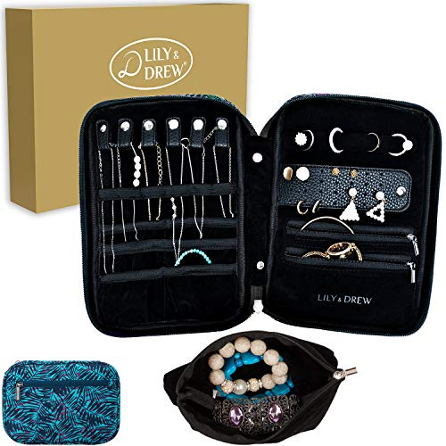 Lily amp Drew Travel Jewelry Storage Carrying Case Jewelry Organizer with Removable Pouch in Gift Box V1B Leaf Blue
