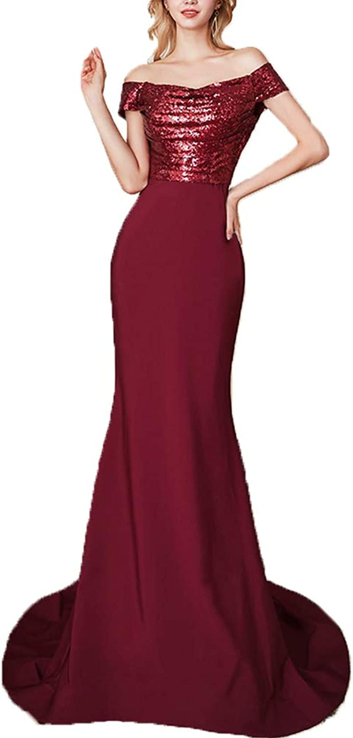 SDRESS Off The Shoulder Sequin Mermaid Bridesmaid Dress Evening Gowns for Women Formal
