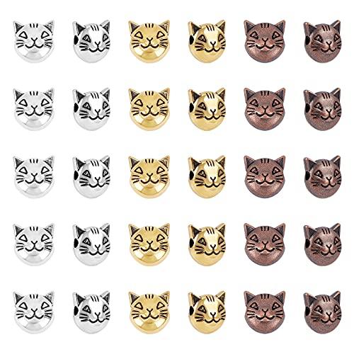 PandaHall 120 cuentas espaciadoras de gatos de 3 colores, cuentas sueltas de gatito tibetano, cabeza de animal de metal para pendientes, pulseras, collares y joyas