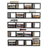 You-Have-Space Wall Mount 34 Inch Media Storage Rack CD DVD Organizer Metal Floating Shelf Set of 5 Black