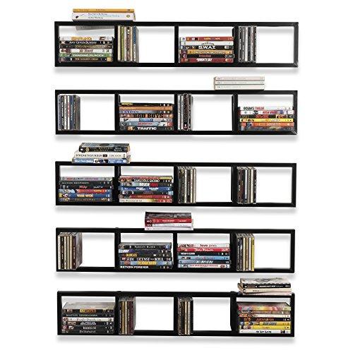 You-Have-Space Wall Mount 34 Inch Media Storage Rack CD DVD Organizer Metal Floating Shelf Set of 5 Black