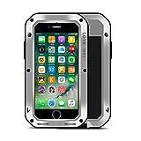 Fonrest iPhone 7 Plus Funda, 5.5 Pulgada Love Mei Poderosa Armadura del Metal de Aluminio a Prueba de Golpes Gorilla Glass Snowproof Cubierta Carcasa Hermética al Polvo (Plata)