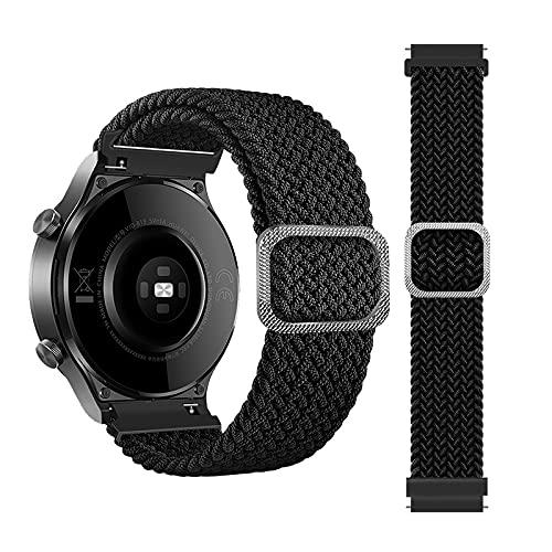 Rosok Correa de Repuesto Elástica Compatible con Samsung Galaxy Active 2 40mm 44mm/Active 40mm, Moda Transpirable, Correa de Tejer de Nylon para Galaxy Watch 3 41mm /Watch 42mm - Negro