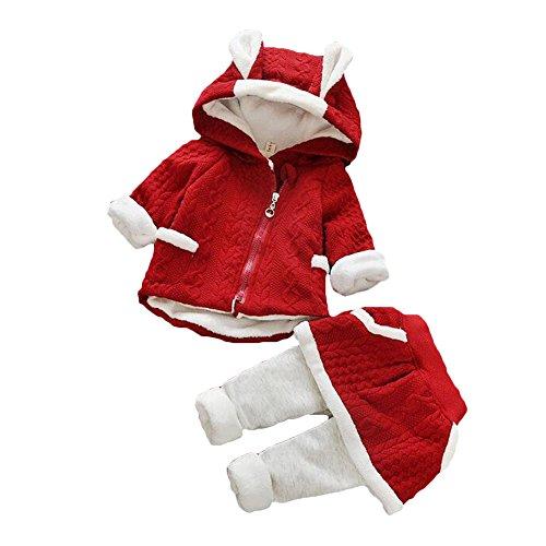 Natale Neonato Bambino 2pcs Set Abbigliamento Felpa Top con Cappuccio + Pantaloni Coniglio Forma Invernale Abiti Set