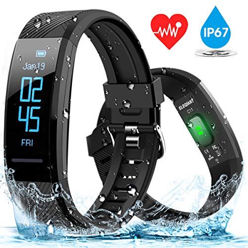 ELEGIANT Fitness Armband, Fitness Tracker Pulsmesser Wasserdicht IP67 Smartwatch Schrittzähler Aktivitätstracker Pulsuhr Sportuhr Damen Herren Anruf SMS SNS Whatsapp Vibrationsalarm für iPhone Android