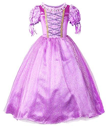 JerrisApparel Ragazze Vestito Abbigliamento Abito da Principessa Costume (130cm, Viola)