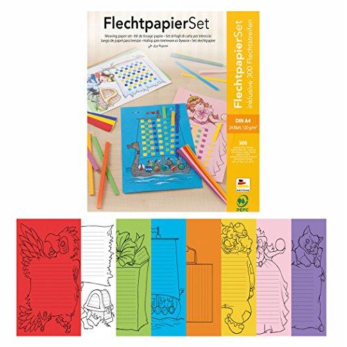 Flechtpapier Set, 24 Flechtbögen, DIN A4 inklusive Flechtstreifen 8-farbig sortiert