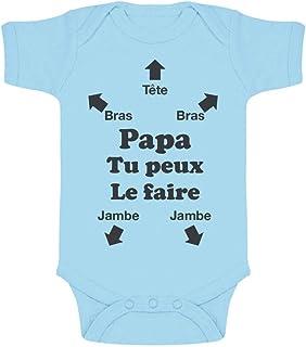 Green Turtle T-Shirts Body Papa Tu Peux Le Faire Humour Cadeau Fete des Peres Body Bébé Manche Courte