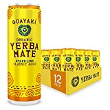 Guayaki Yerba Mate, Classic Gold, Organic Sparkling Alternative to Soda, Tea, and Energy Drinks, 12 Ounce Cans (Pack of 12), 120mg Caffeine (Packaging May Vary)