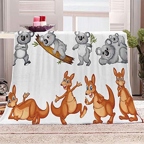 LHUTY Manta de Lana Franela Koala Animal 150x200 cm 3D impresión Microfibra súper Suave Manta de Lana, para niños Adultos Navidad y cumpleaños Regalo Manta