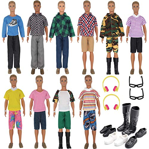 ZTWEDEN 32Pcs Doll Clothes and Accessories for 12 Inch Boy Dolls Include 20 Different Wear Clothes Shirt Jeans Beach Shorts 4 Pairs of Shoes, Glasses, Earphones for 12