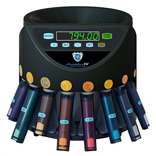 Münzzähler & -sortierer Geldzählmaschine Euro Münzen SR1200 mit Abhülsung Geldzähler Münzzählautomat von Securina24® (schwarz - BBB)