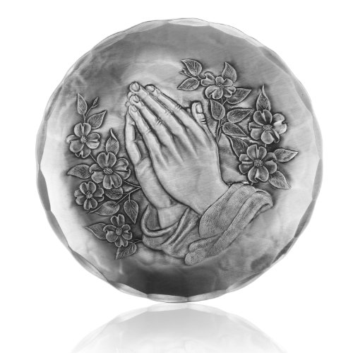 Wendell August Forge Coaster, Praying Hands, Hand-hammered Aluminum, Keeps Tabletops Safe, 4.5 Inch Round Coaster
