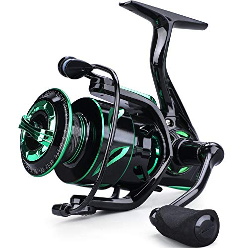 Sougayilang Fishing Reel 6.2:1 High-Speed Gear Ratio Spinning Fishing Reel with 12+1Stainless BB and CNC Aluminum Spool & Handle for Freshwater and Saltwater Fishing-1000