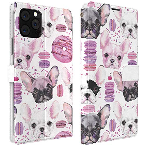 Mertak Wallet Case Compatible with iPhone 12 11 Pro Max SE Xr Xs X 8 Plus 7 6s Protective Macaroons Lightweight Slim Fit PU Leather Animals Flip French Bulldog Cute Donuts Magnetic Folio Cover Dogs