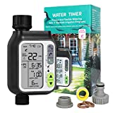 Water Timer, Automatic Watering Timer Programmable Irrigation System Controller for Garden Lawn, with 3 Separate Irrigation Programs, Rain Sensor, Child Lock, Manual Irrigation, IPX5 Waterproof