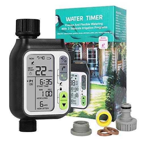 Hotelvs Computer per Irrigazione Automatica, Centralina per Giardino Timer Irrigatore con Funzione Automatico Sensore Pioggia, 3 Programmi di Irrigazione Separati, IP65 Impermeabile