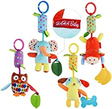 HAHA Baby Toys for 0 3 6 9 to 12 Months, Soft Hanging Crinkle Squeaky Sensory Learning Toy Infant Newborn Stroller Car Seat Crib Travel Activity Plush Animal Wind Chime with Teether for Boys Girls