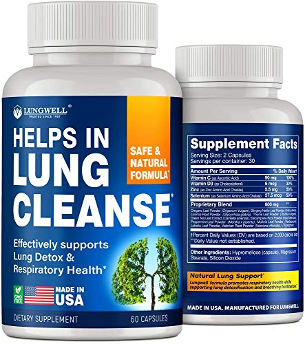 Quit Smoking Aid - Lung Cleanse & Detox Pills - Made in USA - Helps to Clear Lungs & Stop Smoking - Infused with Mullein & L-Tryptophan for Lung Detox & Stress Relief