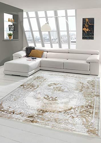 Designer Wollteppich Klassische Ornamente Vintage Stil in Grau Beige Creme Größe 160x230 cm