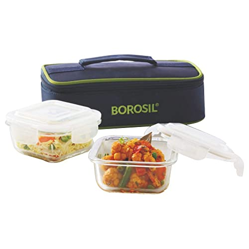 Borosil Glass Lunch Box Set of 2, 320 ml, Horizontal, Microwave Safe Office Tiifin