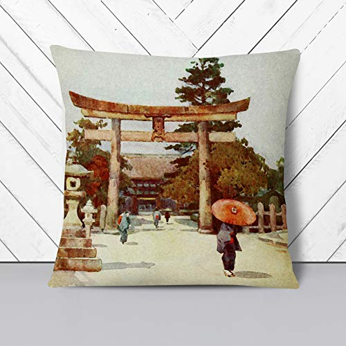 Big Box Art Cushion and Cover - Ella Du Cane Japanese Oriental Portico Sagrado - Single Square Throw Pillow - Soft Faux Suede Material - Double-sided - 40x40 cm