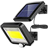Luz de Inundación Solares con 100 LEDs, XVZ Lámparas solares con detector de movimiento, IP65 impermeable, lámpara solar de pared para terraza con cable de 16,5 pies [Clase energética A+++]