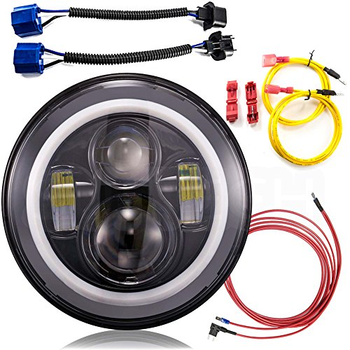 SUITECH 7 Inch LED Headlight Conversion Kits With Super Bright LEDs DLR Halo Light For Jeep Wrangler Jk TJ Hummer Trucks Motorcycle Headlamp - H4 to H13 Adapter by SuiTech (White Halo Pair)