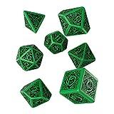 Celtic 3D Revised Green & Black Dice Set (7) [Refreshed Design]