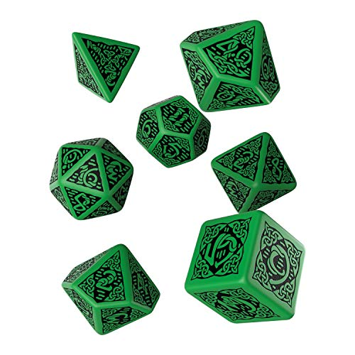 Celtic 3D Revised Green & Black Dice Set (7) [Refreshed Design]