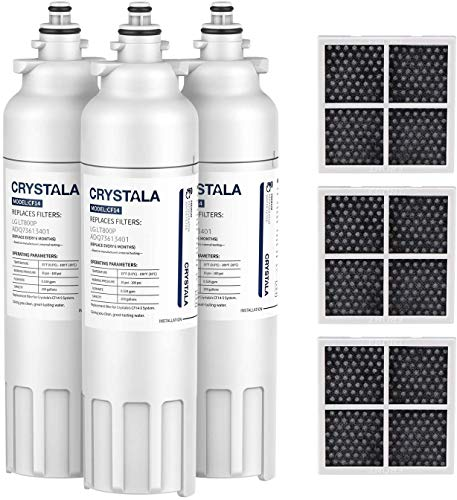 Crystala Filters ADQ73613401 Replacement for LG Refrigerator Water Filter, Compatible with LG LT800P, ADQ73613408, ADQ73613402, 9490 and LT120F, ADQ73214404, ADQ73334008 Air Filter Combo, 3 Pack