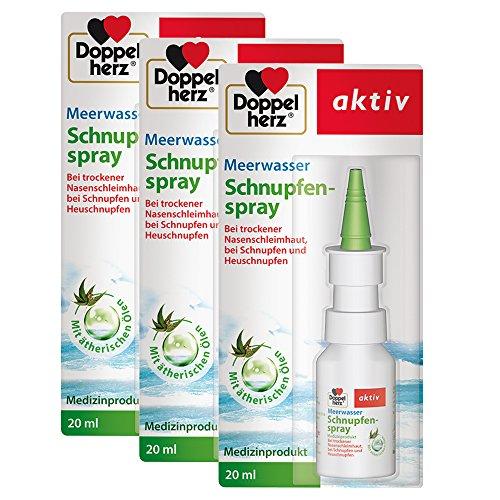Doppelherz Meerwasser Schnupfenspray – Spray mit pflegendem Minz- und Eucalyptusöl zur Reinigung und Befeuchtung der Nasenschleimhaut – 3 x 20 ml