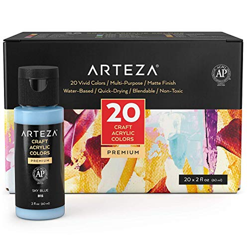 Arteza Craft Acrylic Paint, Set of 20 Colors, 60 ml Bottles, Water-Based, Matte Finish, Blendable Paints for Art & DIY Projects on Glass, Wood, Ceramics, Fabrics, Paper & Canvas
