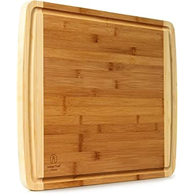 "EXTRA LARGE Bamboo Cutting Board with Deep Juice Groove 17.5"" x 13.5"" x 0.75"