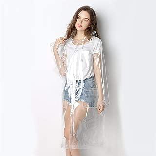 LilyAngel 巾着フード付き女性のファッションのEVA防水レインポンチョコート再利用のためのレインコートスーパー透明なレインコート (色 : Transparent, サイズ : M)