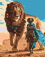 大人のための数字で描くDIY油絵ライオンと女性DIYキャンバスアクリル油絵キットホームウォールアートクリスマスの装飾16x20インチ(フレームなし)