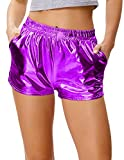 Kate Kasin Women's Yoga Hot Shorts Shiny Metallic Pants Purple, Size S