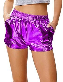 Kate Kasin Women s Yoga Hot Shorts Shiny Metallic Pants with Elastic Waist Purple