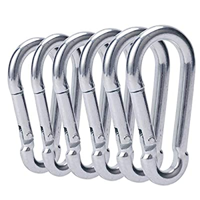 OWAYOTO 3 Inch Carabiner Spring Snap Hook Steel Clip Link Buckle Heavy Duty 8x80mm 6pcs for Outdoor Camping Hiking Hammock Swing
