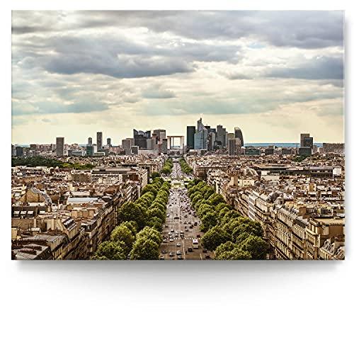 BilderKing Intensiv & Impostant 200x150cm großes Leinwand-Bild. Skyline, Champs Elysees als Wandbild auf 4cm tiefen Keilrahmen. Eindrucksvoller können Sie Ihren Raum Nicht in Szene setzen