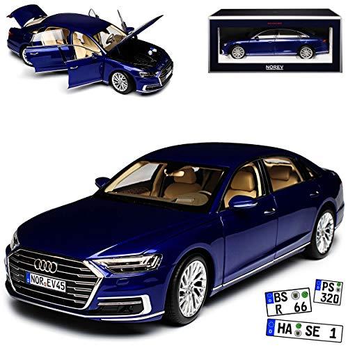 Norev A-U-D-I A8 L D5 4N Limousine Blau Metallic Ab 2017 1/18 Modell Auto mit individiuellem Wunschkennzeichen
