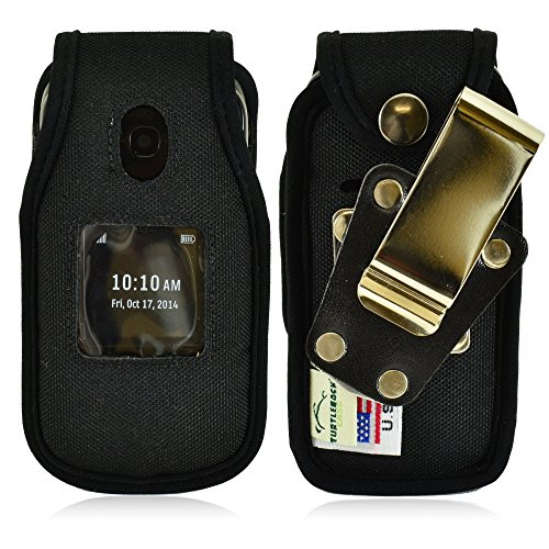 Turtleback Belt Clip Holster Fitted Case Fits Alcatel Onetouch Retro Flip Phone, Black Nylon