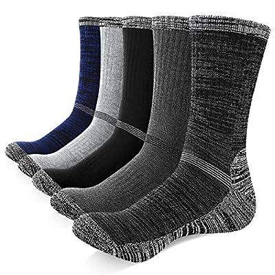 Yousu Mens Cotton Multi Performance Moisture Wicking Outdoor Athletic Sports Hiking Trekking Crew Socks 5 Pack