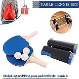 Ping Pong Juego de Tenis de Mesa portátil, Morbuy Red de Tenis de Mesa retráctil (con 2 Raquetas, 3 Pelotas, una Bolsa y una Red retráctil) para Escuela Familia Interiores Juegos (Azul)