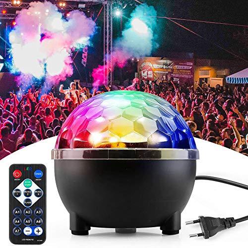 Discolicht, Korostro Discokugel Musikgesteuert Disco Lichteffekte RGB Partylicht LED Party Lampe 8 Farbe Discolampe Deko mit Fernbedienung für...