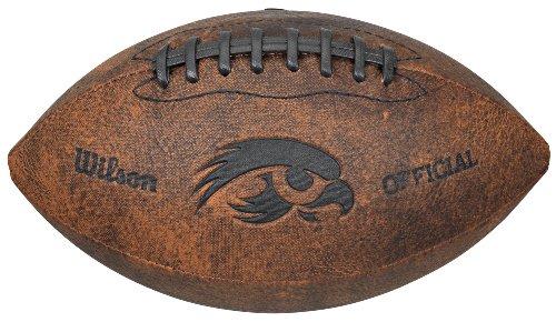 Wilson NCAA Kansas Jayhawks NCAA Iowa Hawkeyes Vintage Throwback Football, 9-inches, Brown (6383010GC)